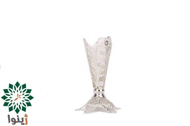 گلدان ملیله مسی با آبکاری نقره