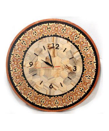 ساعت معرق چوب