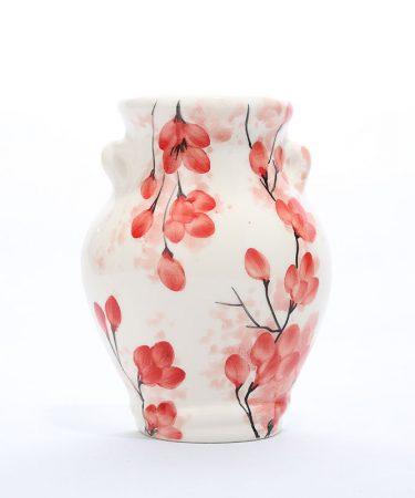 گلدان سفالی دیوارکوب طرح گل
