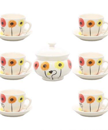 سرویس چای خوری سرامیکی 14 پارچه مدل شقایق